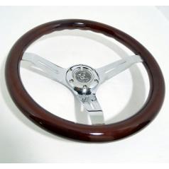 Sportovní kovový volant s imitací dřeva o průměru 350 mm