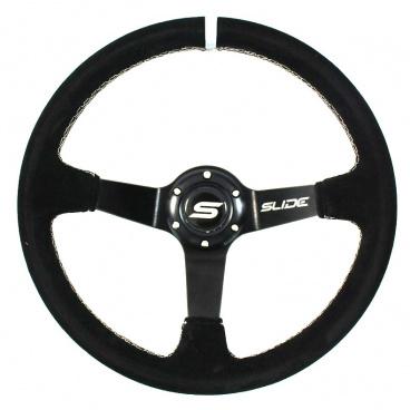 Sportovní volant WRC 350 mm černý semiš / stříbrný šev