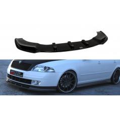 Spoiler pod přední nárazník pro Škoda Octavia Mk2, Maxton Design (černý lesklý plast ABS)