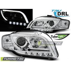 Audi A4 B7 11.2004-03.2008 přední čirá světla Led Tube Lights TRU DRL chrome (LPAUB4)