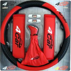 Interiérový set červený (řadička, potah, návleky, chrániče dveří)