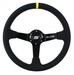 Sportovní volant WRC černá kůže YELLOW STRIP 350 mm