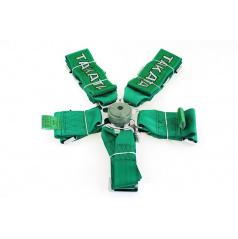 6-bodový bezpečnostní pás CAM LOCK 75 mm zelený s logem Takata