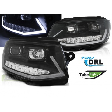 VW T6 2015- přední čirá světla black tube light LED DRL (LPVWR0)