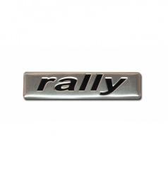 Plastický znak RALLY alu provedení s podlepením 70x17 mm