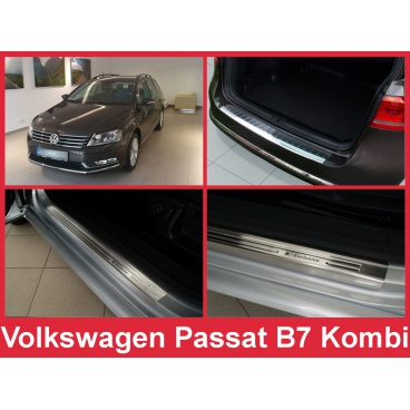 Nerez kryt- sestava-ochrana prahu zadního nárazníku+ochranné lišty prahu dveří VW Passat B7 kombi 2011-14