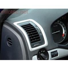 Dekory interiéru, sada 2 (rámečky ventilace 3 ks) ABS-stříbrný matný, Škoda Octavia II, Škoda Octavia II Facelift